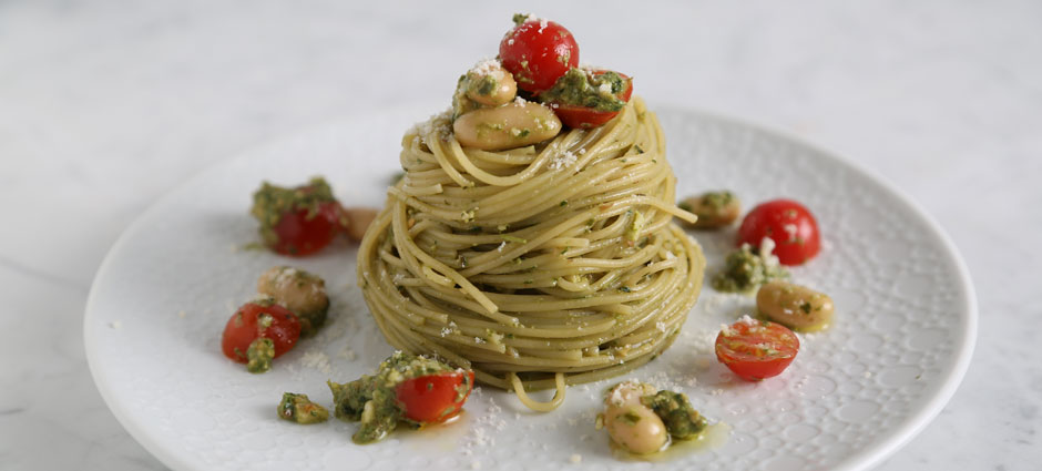 barilla angel hair with kale want pesto cannelloni beans and cherry tomatoes