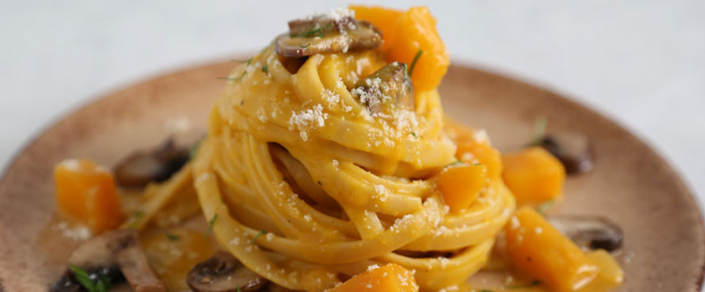 Fettuccine with Butternut Squash and Cremini Mushrooms