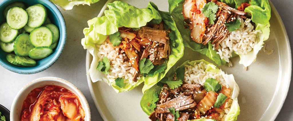 korean-inspired beef wraps
